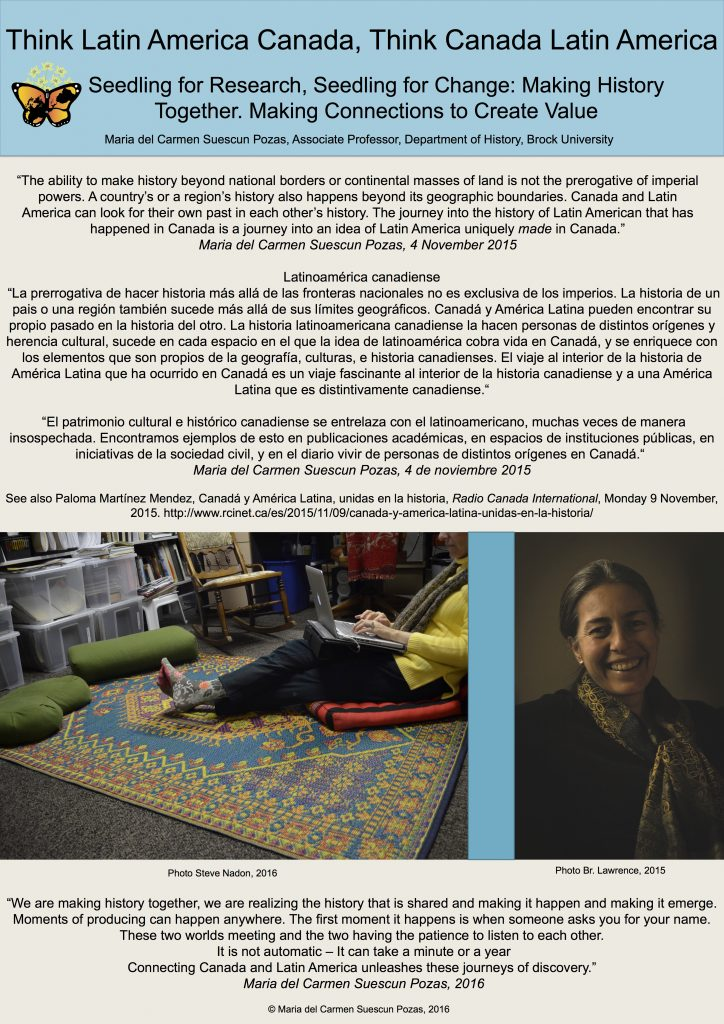 "Poster for ""Think Latin America Canada, Think Canada Latin America"", featuring photos of Steve Nadon and project founder Maria del Carmen Suescun Pozas, as well as quotes about the project."