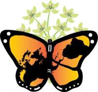 The Seedling for Change logo: a monarch butterfly with a map of the Americas patterned across its wings, sitting on milkweed flowers.
